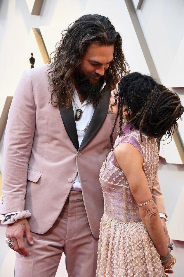 Jason Momoa and Lisa Bonet at the Oscars on