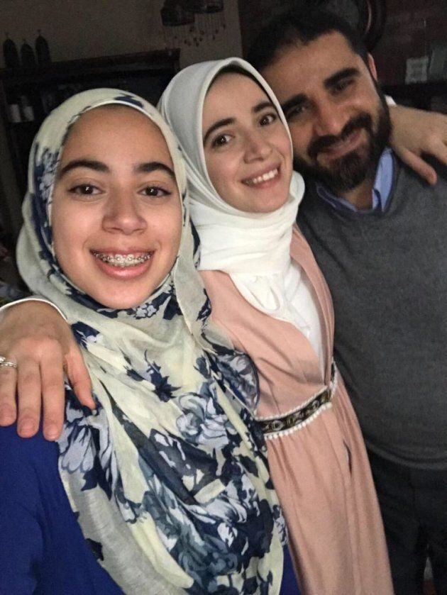 Canadian engineer Yasser Ahmed Albaz, right, is pictured with his daughters Maryam Ahmed (left) and Amal
