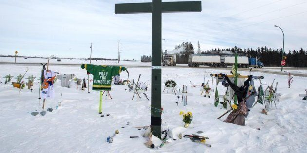 A memorial for the 2018 crash where 16 people died and 13 injured when a truck collided with the Humboldt...