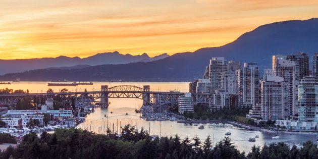 The Burrard Bridge and condos along Vancouver's False Creek, June 21,