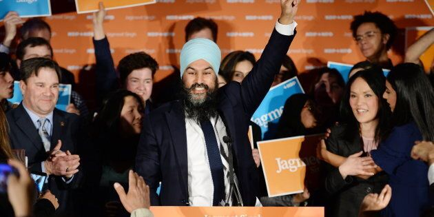 NDP leader Jagmeet Singh celebrates his Burnaby South byelection win at his election night party in Burnaby,...