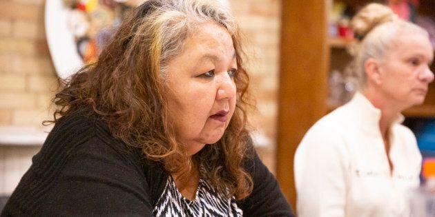 Brandi Nashkewa at the Seeking Safety program for trauma and substance abuse at the Native Women's Resource...
