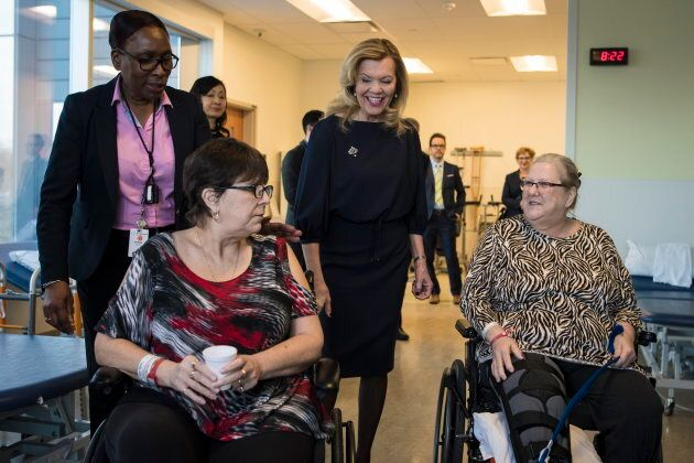 Ontario Health Minister Christine Elliott meets patients at Bridgepoint Active Healthcare before making...