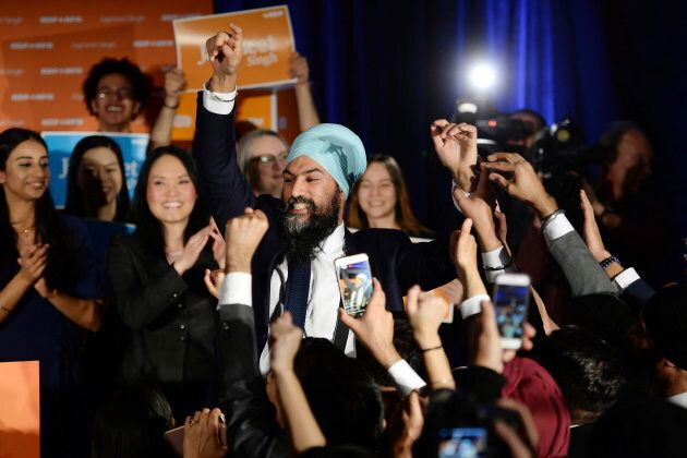 NDP leader Jagmeet Singh celebrates his Burnaby South byelection win as he arrives at his election night party in Burnaby, British Columbia, Feb. 25, 2019.