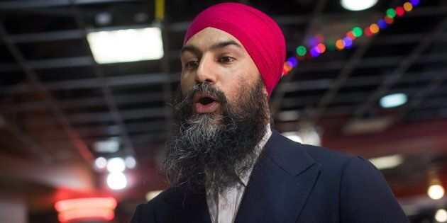 NDP Leader Jagmeet Singh campaigns for the federal byelection, in the food court at an Asian mall in...
