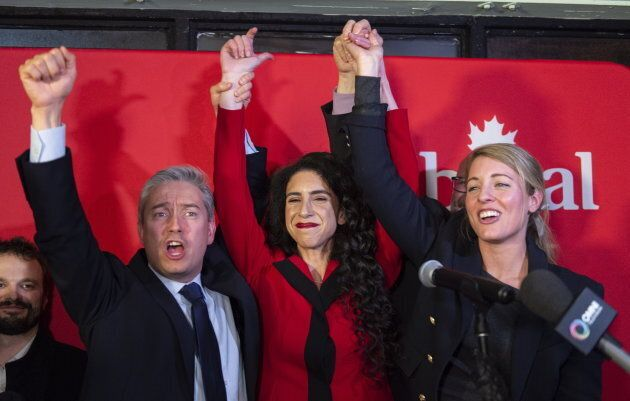 Liberal candidate Rachel Bendayan celebrates her victory in a byelection in the Montreal riding of Outremont with Infrastructure Minister Francois-Philippe Champagne and Tourism Minister Melanie Joly on Feb. 25, 2019.