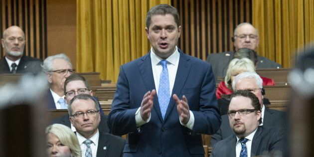 Leader of the Opposition Andrew Scheer presents an opposition motion in the House of Commons on Feb. 25, 2019 in Ottawa.