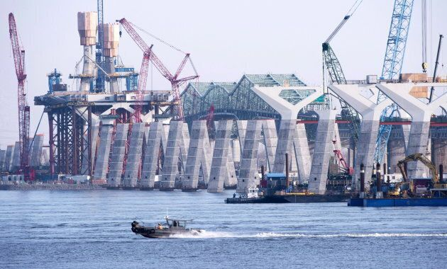 Construction of the new Champlain bridge in Montreal on Dec. 4,
