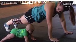 ▶Face It, This Baby Doing CrossFit Is Better At Pushups Than You