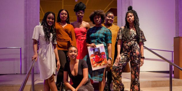 Members of the Black Wimmin Artists advisory committee pose at The Feast on Jan. 25, 2019. Back row, left to right:  Ojo Agi, Sadora Asefaw, Kosi Nnebe, Anique Jordan, Najla Nubyanluv, Raven Lam. Front row: Setti Kidane.