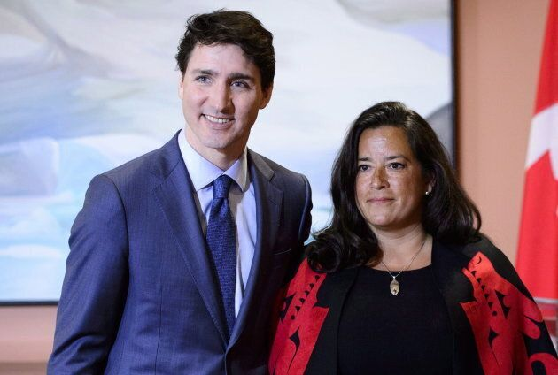 Prime Minister Justin Trudeau and Veterans Affairs Minister Jodie Wilson-Raybould attend a swearing in ceremony at Rideau Hall in Ottawa on Jan. 14, 2019.