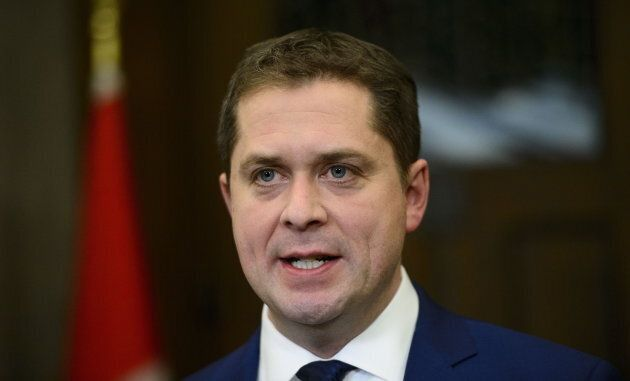 Conservative Leader Andrew Scheer holds a press conference in reaction to Jody Wilson-Raybould's appearance...