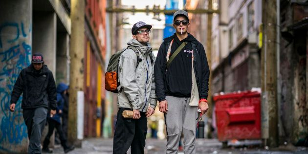 Dylan, 27, and friend Vinney Taylor, 23, outside pop-up injection site after getting high on street heroin...
