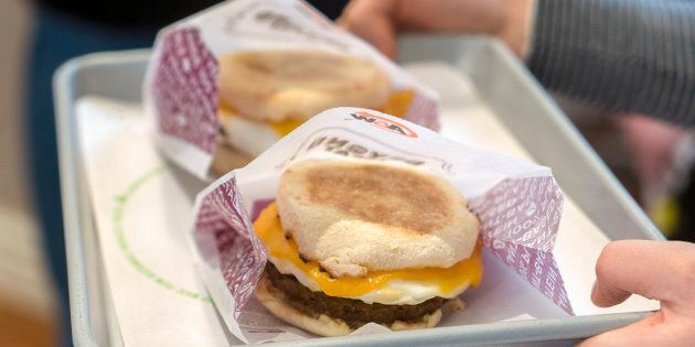 A&W's new Beyond Meat breakfast sandwich, which will become available in