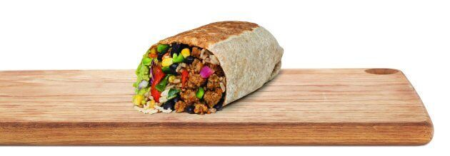 Quesada's new vegan burrito, featuring Beyond Meat products.