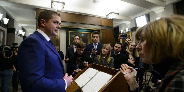 Conservative Leader Andrew Scheer holds a press conference in reaction to Jody Wilson-Raybould's appearance at the House of Commons justice committee on Parliament Hill on Feb. 27, 2019.