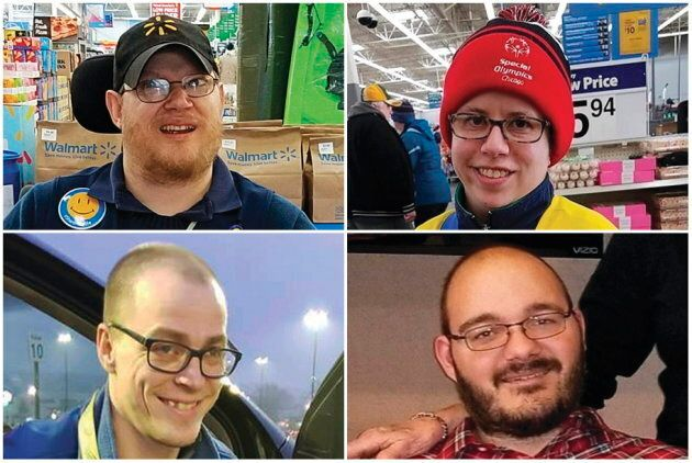 This combination of images shows Walmart greeters, clockwise from top left, John Combs in Vancouver,...