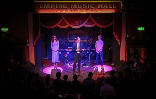 Prince William and Kate Middleton onstage at the Empire Music Hall.