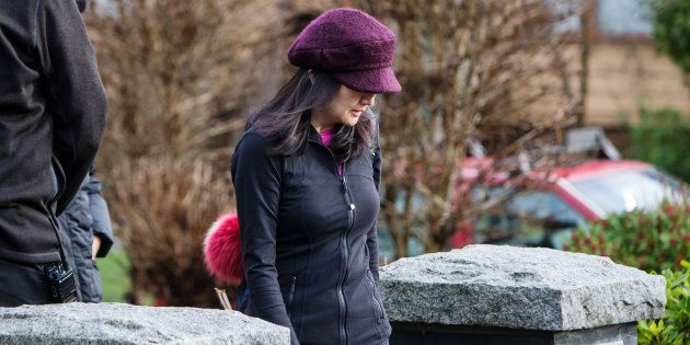 Meng Wanzhou, chief financial officer of Huawei Technologies Co., leaves her home while out on bail in...