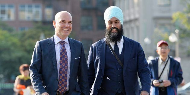 NDP Leader Jagmeet Singh walks with NDP MP Nathan Cullen on Parliament Hill in Ottawa on Sept. 20,
