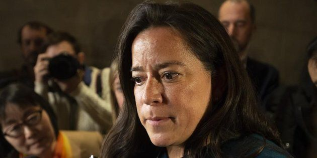 Jody Wilson-Raybould speaks with the media after appearing in front of the Justice committee in