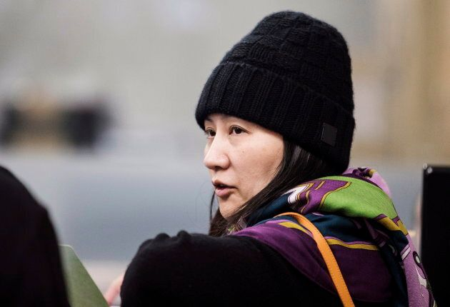 Huawei chief financial officer Meng Wanzhou arrives at a parole office in