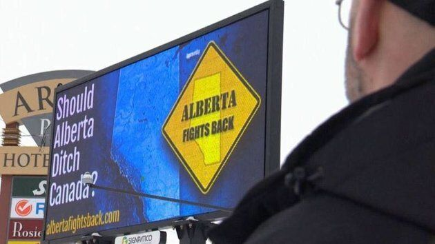 A billboard in Calgary asks if the province should separate from