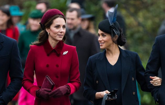 Catherine, Duchess of Cambridge and Meghan, Duchess of Sussex at the Christmas Day Service at Church of St Mary Magdalene on Dec. 25, 2018.