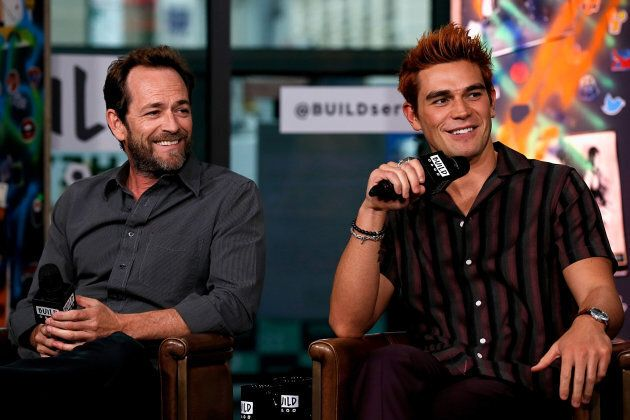 Luke Perry (L) and K. J. Apa attend the Build Series to discuss 'Riverdale' at Build Studio on Oct. 8, 2018 in New York City.