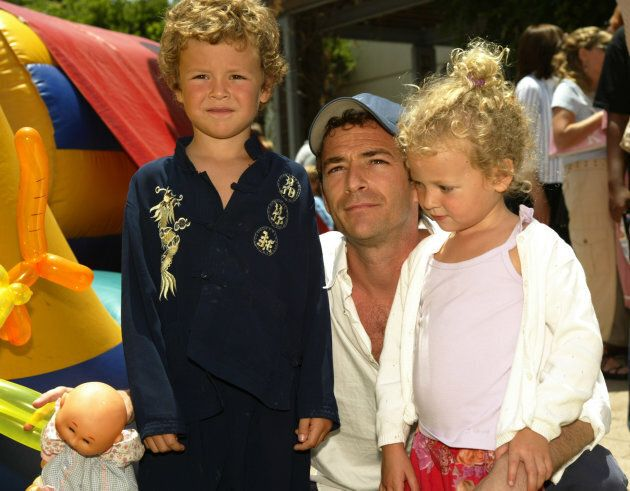 Luke Perry with son Jack and daughter Sophie at the 'Garfield: The Movie' World Premiere After-Party in Los Angeles in 2004.