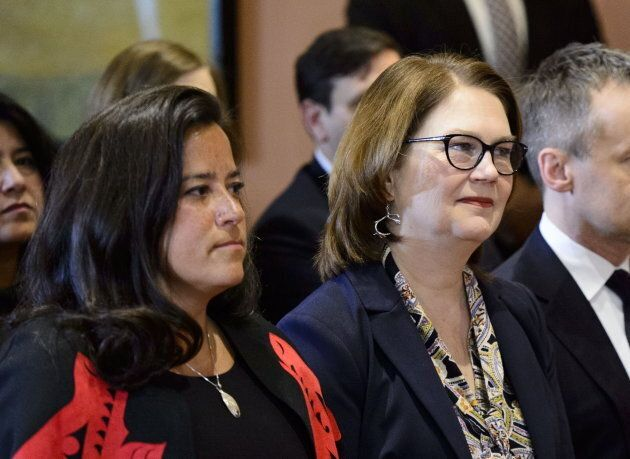 Jody Wilson-Raybould and Jane Philpott take part in a cabinet shuffle at Rideau Hall in Ottawa on Jan....