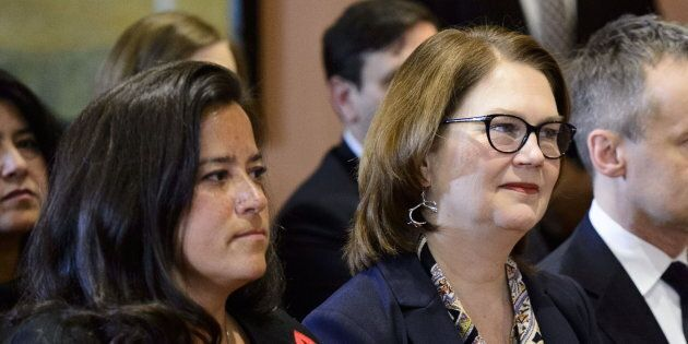 Liberal MPs Jody Wilson-Raybould and Jane Philpott take part in a cabinet shuffle at Rideau Hall in Ottawa...