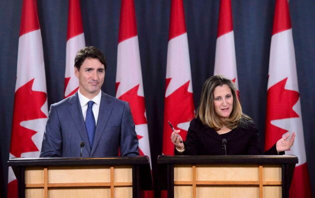 Prime Minister Justin Trudeau and Minister of Foreign Affairs Chrystia Freeland hold a press conference regarding the United States Mexico Canada Agreement (USMCA) at the National Press Theatre, in Ottawa on Oct. 1, 2018.