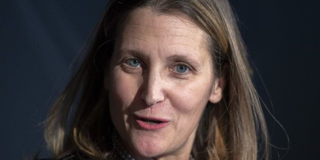 Foreign Affairs Minister Chrystia Freeland speaks to the media on March 5, 2019 in Longueuil, Que.