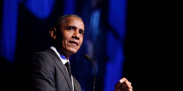 Former U.S. President Barack Obama accepts the Robert F. Kennedy Human Rights Ripple of Hope Award at...