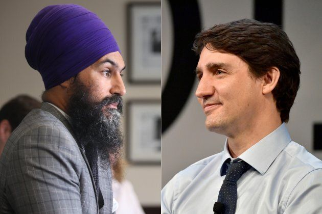 NDP Leader Jagmeet Singh, left, and Liberal Leader and Prime Minister Justin Trudeau,
