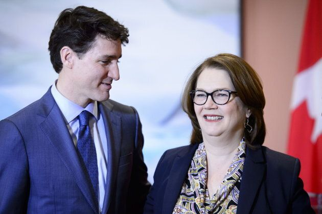 Prime Minister Justin Trudeau and Jane Philpott take part in a cabinet shuffle at Rideau Hall in Ottawa...