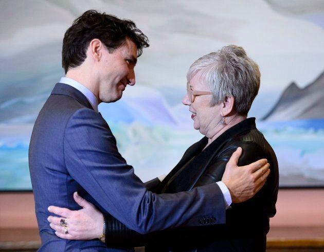 Prime Minister Justin Trudeau greets Minister of Rural Economic Development Minister Bernadette Jordan...