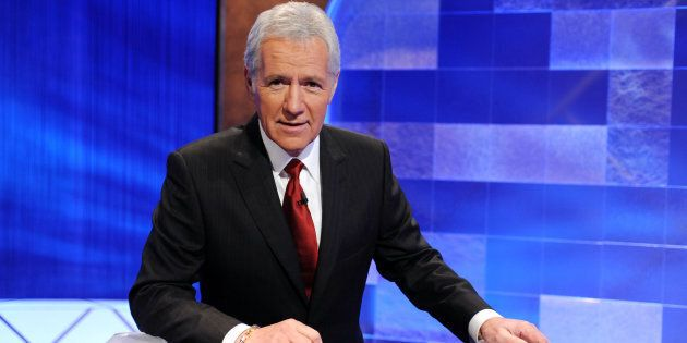 Alex Trebek poses on the set of the