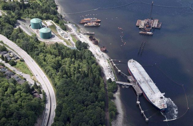 An aerial view of Kinder Morgan's Trans Mountain marine terminal in Burnaby, B.C. on May 29,