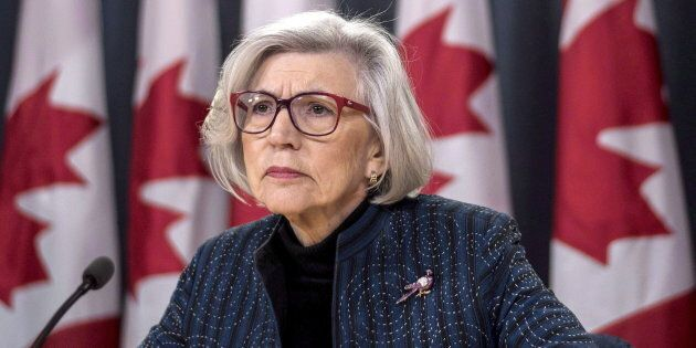 Former chief justice of the Supreme Court of Canada Beverley McLachlin listens to a question during a...