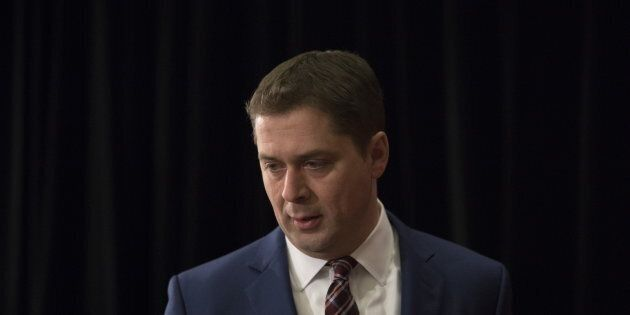 Federal Conservative Leader Andrew Scheer speaks during a press conference in Toronto on March 7,
