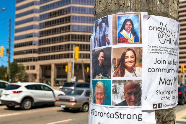 One week after the Toronto's van attack, photos of Victim were seen on an electric pole.
