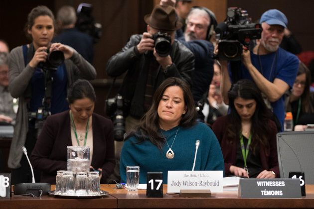 Jody Wilson-Raybould appears before a justice committee hearing on Parliament Hill in Ottawa on Feb....