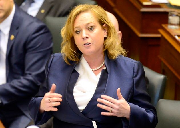 Minister of Children, Community and Social Services Lisa MacLeod rises in the legislature to repeat talking...