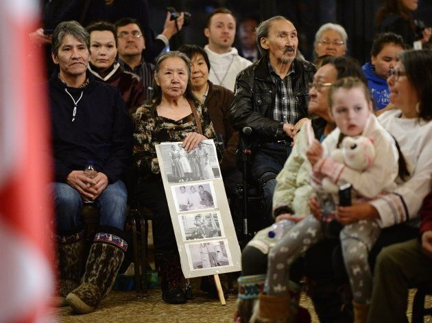People gather to hear Prime Minister Justin Trudeau deliver an official apology to Inuit for the federal...