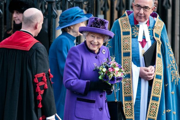 Queen Elizabeth II outside Westminster Abbey following a Commonwealth Day Service on