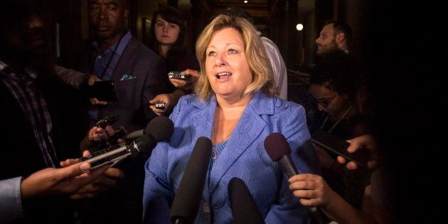 Ontario Education Minister Lisa Thompson scrums with reporters at the Queens Park legislature in Toronto...