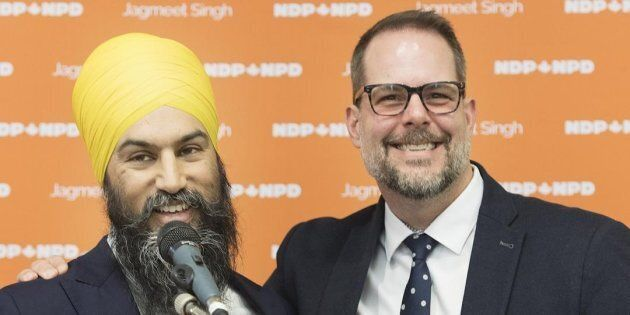 NDP Leader Jagmeet Singh announces Alexandre Boulerice as deputy leader of the party during a news conference...