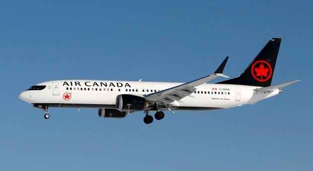 A Boeing 737 MAX 8 jet, belonging to Air Canada, lands in Calgary, Alberta on March 5, 2019.